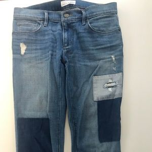 LOFT Distressed and Patchwork Skinny Jeans
